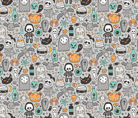 Halloween Doodle Skulls,Spiders,Skeleton,Bat, Ghost,Web, Zombies on Light Grey fabric by caja_design on Spoonflower - custom fabric