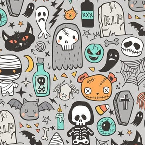 Halloween Doodle Skulls,Spiders,Skeleton,Bat, Ghost,Web, Zombies on Light Grey