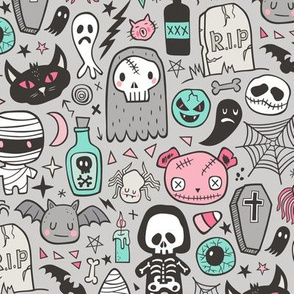 Halloween Doodle Skulls,Spiders,Skeleton,Bat, Ghost,Web, Zombies Pink Mint on Light Grey