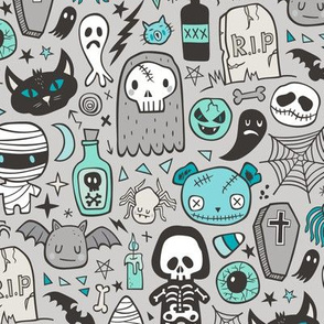 Halloween Doodle Skulls,Spiders,Skeleton,Bat, Ghost,Web, Zombies Mint Green Blue on Light Grey