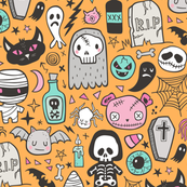 Halloween Doodle Skulls,Spiders,Skeleton,Bat, Ghost,Web, Zombies on Orange
