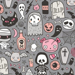 Halloween Doodle Skulls,Spiders,Skeleton,Bat, Ghost,Web, Zombies Pink Peach on Dark Grey