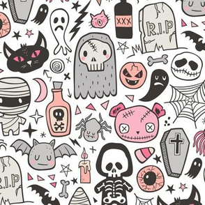 Halloween Doodle Skulls,Spiders,Skeleton,Bat, Ghost,Web, Zombies  Pink Peach on White