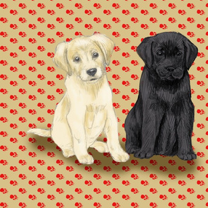 Two Sitting Labrador Retriever Puppies for Pillow