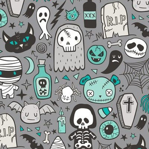 Halloween Doodle Skulls,Spiders,Skeleton,Bat, Ghost,Web, Zombies Mint Green on Dark Grey
