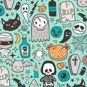 Halloween Doodle Skulls,Spiders,Skeleton,Bat, Ghost,Web, Zombies on Mint Green