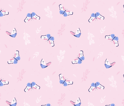 Butterflies - soft pink with delicate flowers fabric by ewa_brzozowska on Spoonflower - custom fabric