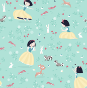 Snow White - mint princess with animals in forest