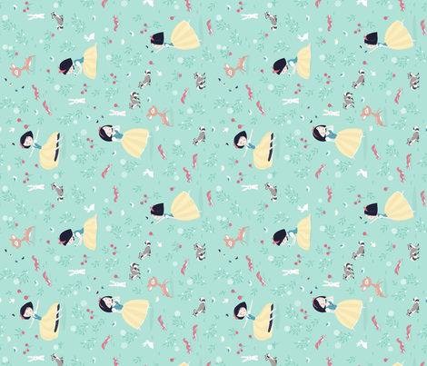 Snow White - mint princess with animals in forest fabric by ewa_brzozowska on Spoonflower - custom fabric