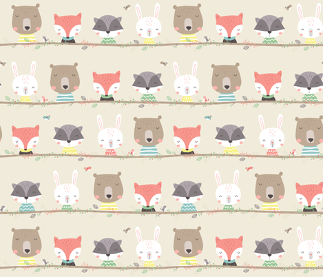 Woodland Friends fabric by ewa_brzozowska on Spoonflower - custom fabric