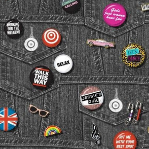'80s Rock & Roll Flair* (Black Denim) || buttons pins pinbacks music retro denim rock and roll band typography words fashion friendship punk emo