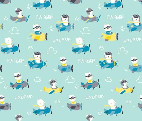 Bear and fly fabric by ewa_brzozowska on Spoonflower - custom fabric