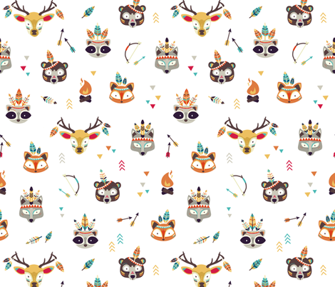 Be Wild - tribal animals fabric by ewa_brzozowska on Spoonflower - custom fabric
