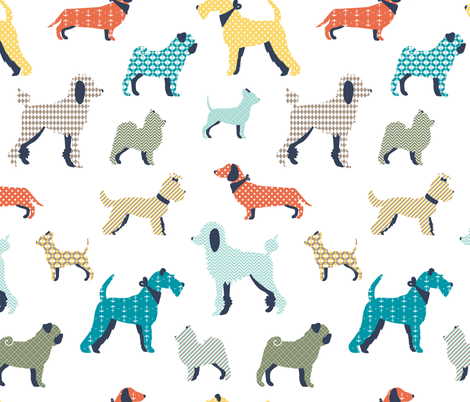 Patterned dogs fabric by ewa_brzozowska on Spoonflower - custom fabric
