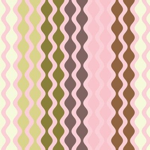 Falling Waves Seamless Repeating Pattern on Light Pink