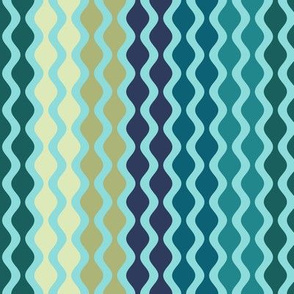 Falling Waves Seamless Repeating Pattern on Teal