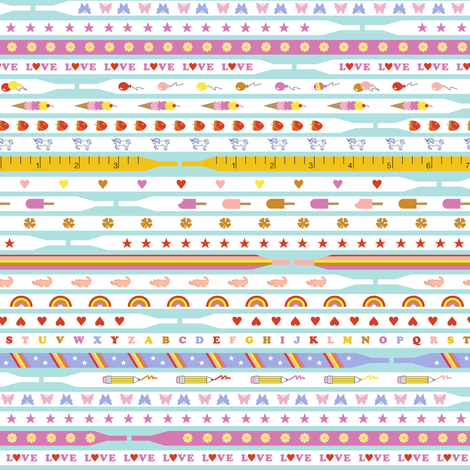 Ace Laces* (Pinks on Polymer) || shoe shoes strings laces 80s retro fashion trendy popsicle shamrock four leaf clover star butterfly alligator rainbow heart balloon ice cream cone strawberry unicorn pencil pastel fabric by pennycandy on Spoonflower - custom fabric