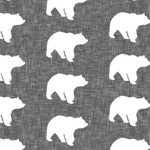 bears on dark grey linen