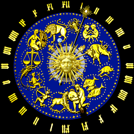 10 clocks time zodiac Horoscope Aries Taurus Gemini Cancer Leo Virgo Libra Scorpio Sagittarius Capricorn Aquarius Pisces baroque versace inspired rococo astrology gold roman numerals  fleur de lis lily lilies lotus flowers lobsters twins children baby bab fabric by raveneve on Spoonflower - custom fabric