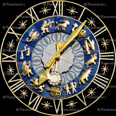 6 clocks time stars zodiac Horoscope Aries Taurus Gemini Cancer Leo Virgo Libra Scorpio Sagittarius Capricorn Aquarius Pisces astrology gold black roman numerals lobsters twins children baby babies ox bulls goats ram fishes man water archer bows arrows sc