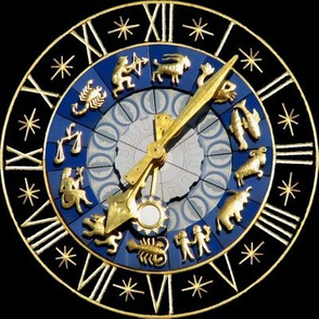 6 clocks time stars zodiac Horoscope Aries Taurus Gemini Cancer Leo Virgo Libra Scorpio Sagittarius Capricorn Aquarius Pisces astrology gold black roman numerals lobsters twins children baby babies ox bulls goats ram fishes man water archer bows arrows sc