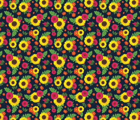 Bright flowers on navy fabric by megannorrell on Spoonflower - custom fabric