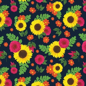 Bright flowers on navy