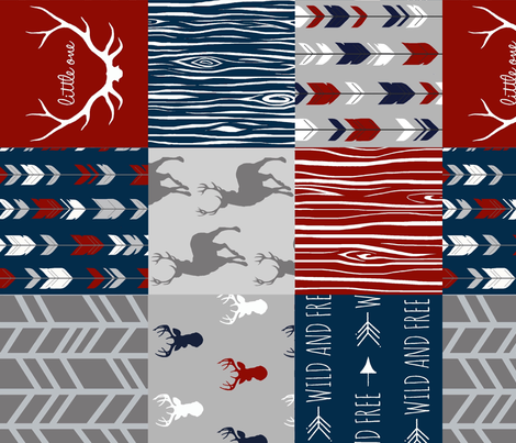Deer Patchwork - Scarlet, Navy, and Grey - Little One Quilt - (red white and blue) fabric by sugarpinedesign on Spoonflower - custom fabric
