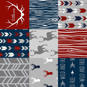 Deer Patchwork - Scarlet, Navy, and Grey - Little One Quilt - (red white and blue)