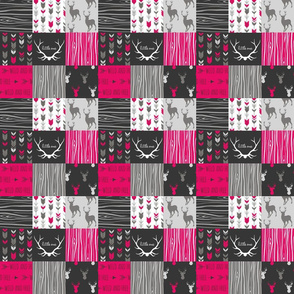 "2"" Patchwork Deer- Fuchsia, Black, Grey"