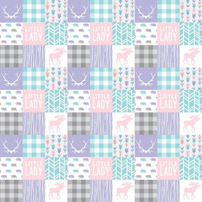 "2"" Little Lady Patchwork - Aqua, pink, lilac, grey. Baby Girl Wholecloth quilt"