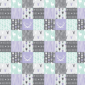 """2"""" patchwork Deer - lilac, mint, grey - little one Wholecloth quilt"""