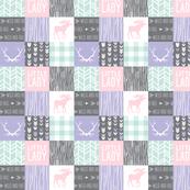"2"" Little Lady Patchwork - lilac, mint, pink"