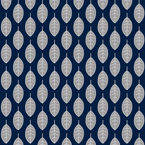 leaves - halfscale - grey on navy