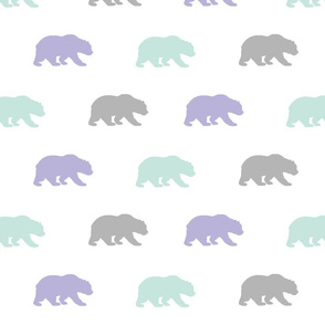 Bears - mint, lilac, grey - Evenstar - woodland-ch