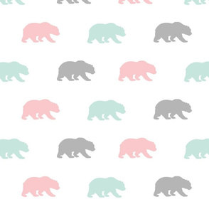 Bears - mint,pink,grey - Evenstar - woodland-ch-ch