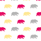Bears - fuchsia, yellow,grey - Evenstar - woodland-ch-ch-ch