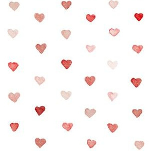 Small Watercolor Hearts in Shades of Red and Pink