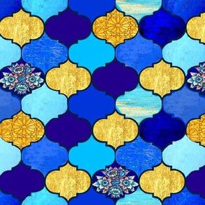 Moroccan Tiles //  Quatrefoil  tiles // blue & gold