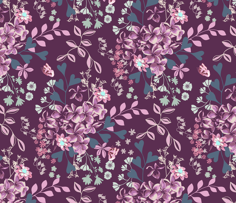 Midnight Flowers fabric by eastendstudios on Spoonflower - custom fabric