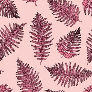 Botanical summer garden green fern tropical plant pink