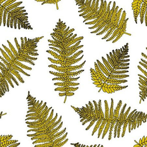 Botanical hawaiian summer garden green fern tropical plant mustard yellow