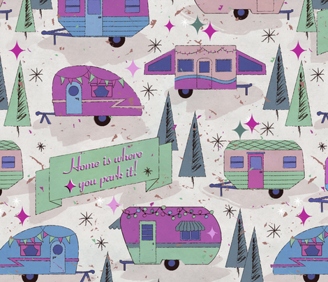 Home is where you park it! fabric by karismithdesigns on Spoonflower - custom fabric