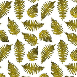 Botanical hawaiian summer garden green fern tropical plant mustard yellow SMALL
