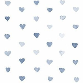 Small Watercolor Hearts in Navy Blue