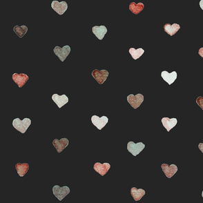 Large Watercolor Hearts in Vintage Colors