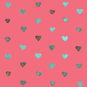Small Watercolor Hearts in Light Blue on an pink background