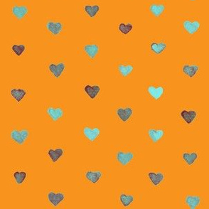 Small Watercolor Hearts in Light Blue on an orange background