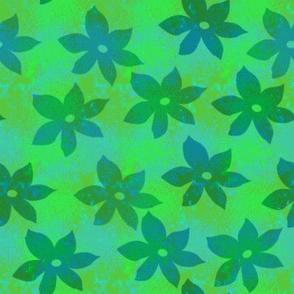 Green batik flowers