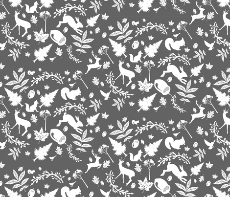 Woodland-yard-dkgry fabric by baxtergraham on Spoonflower - custom fabric